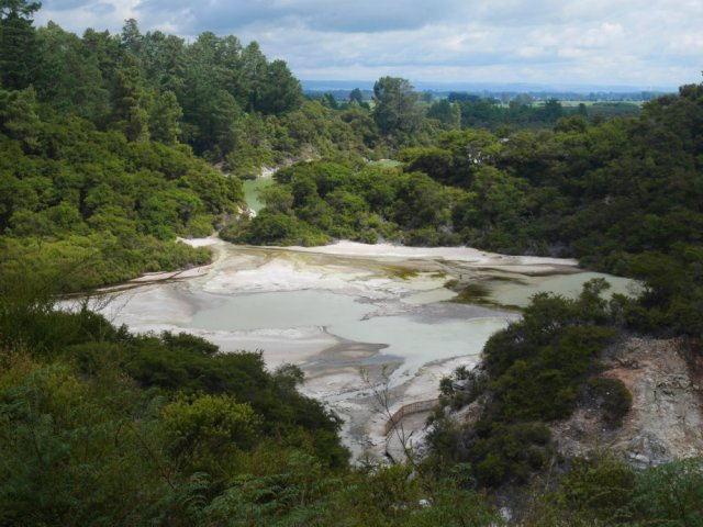 Looking down to the rest of Wai-O-Tapu