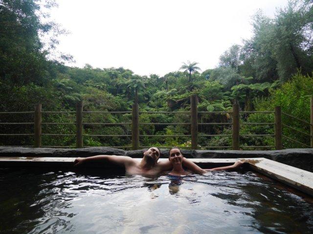 Relaxing in Okoroire hot springs
