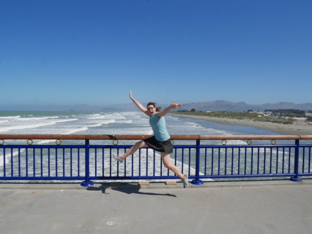 Jumping about like a look on New Brighton Pier