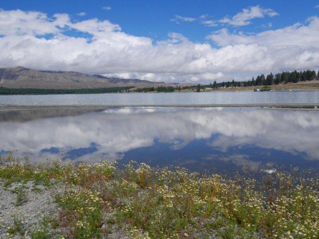 Pretty reflections in lake Tekapo