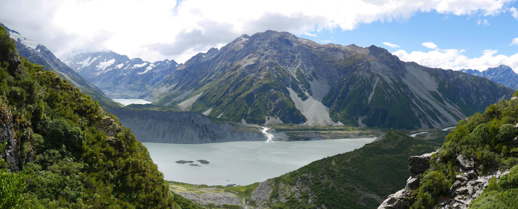 Looking down to the Hooker Valley
