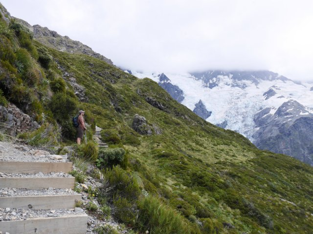 Steps up to the Mueller Hut