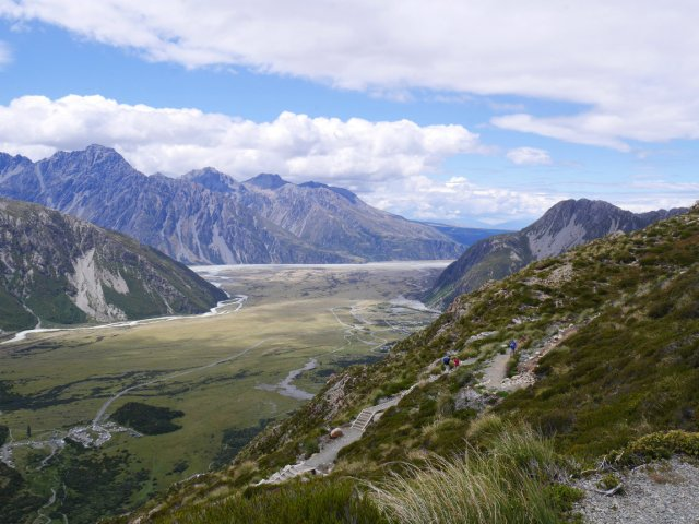 Looking down to Aoraki/ Mount Cook Village