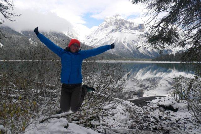 Jump shot at on the Emerald Lake Loop