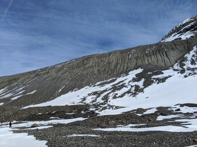 The Moraine of the Athabasca Glacier with Marc for scale