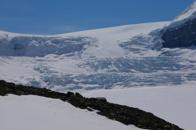 Close up of the Athabasca Glacier