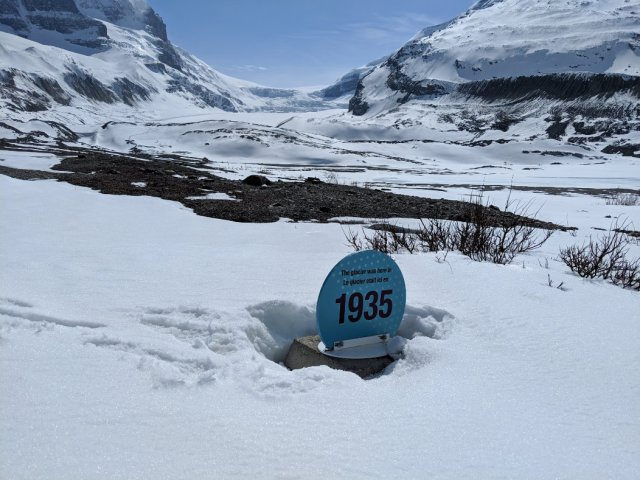 Toe of the Athabasca Glacier trail - 1935 marker