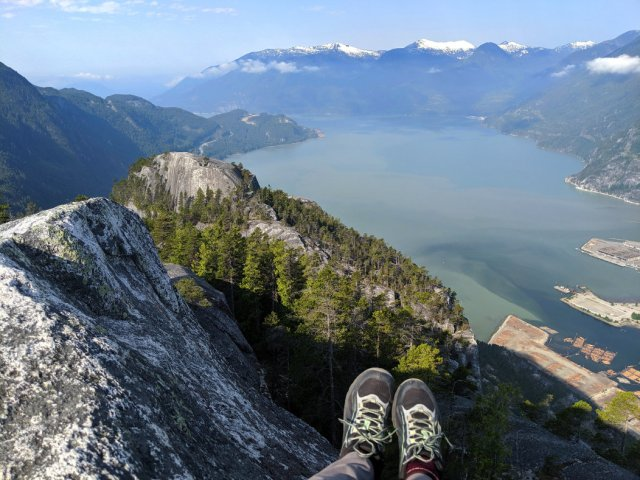 Sit down, views straight down from the squamish chief