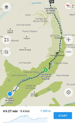 Ordesa Valley Hike to Cola de Caballo map