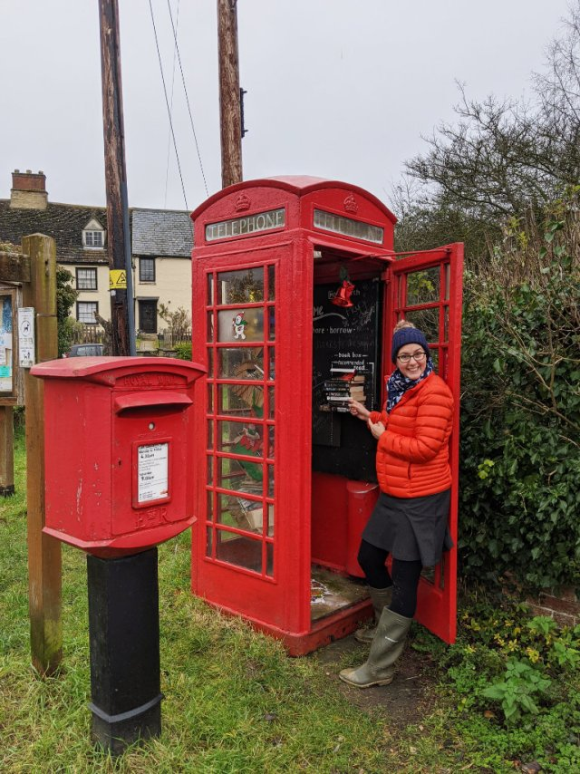 The village phone box is now a mini library