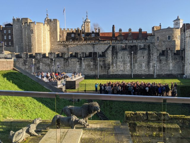 Crowds inside the Tower of London