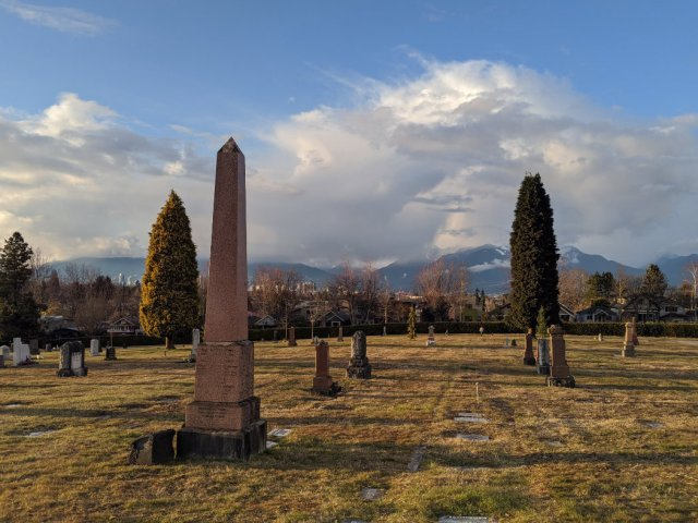 Vancouver Cemetery at dusk