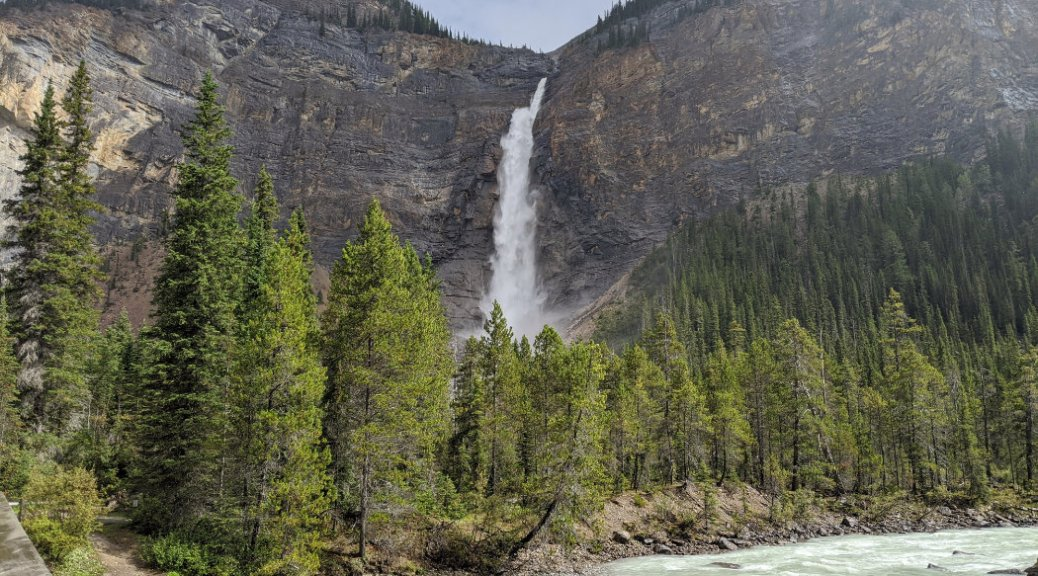 First views of Takakkaw Falls from the river