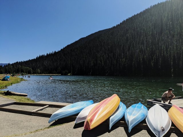 Kayaks on Lightning Lake in Manning Park