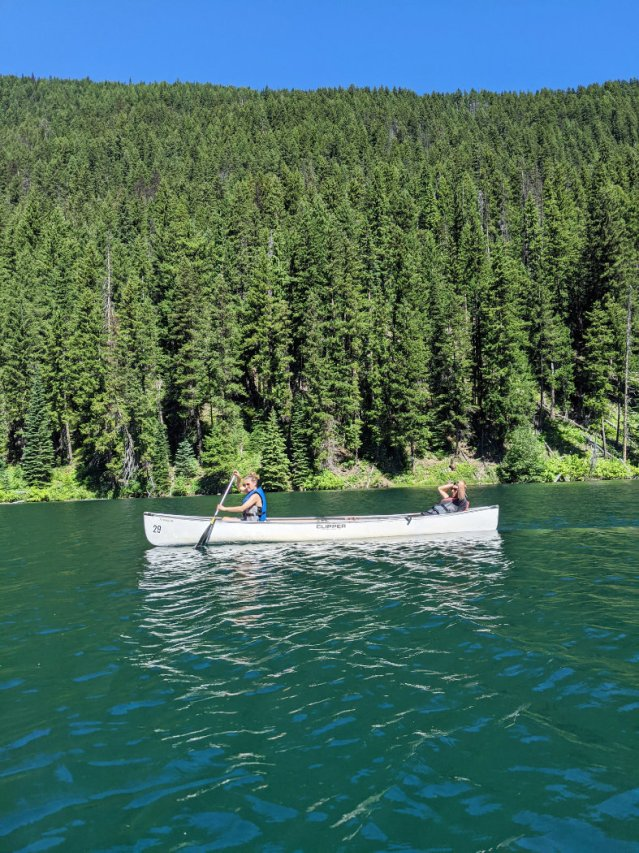 Paddling on Lightning Lake's blue waters