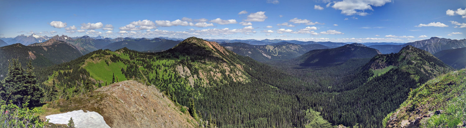View from the top of Lone Goat Mountain towards Red Mountain and the rest of Manning Park