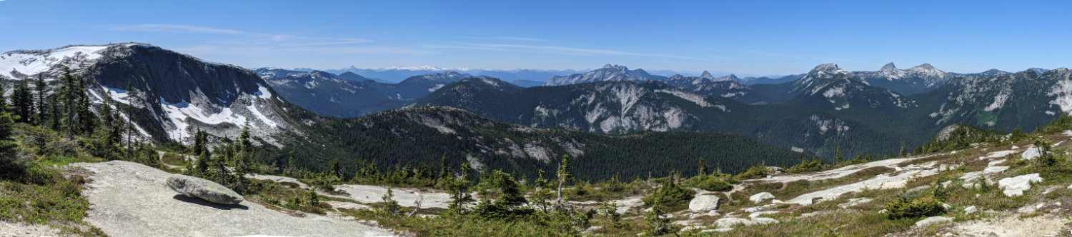 Views from the ridge on the Needle Peak Trail. The mountain to the left is the Flatiron