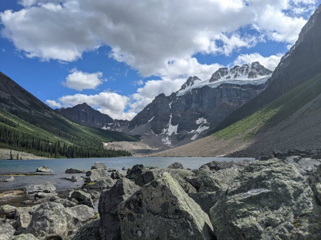 Consolation Lakes - lower lake with Bident Mountain and Quandra Mountain i