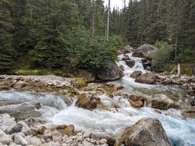 Meeting of the Waters - Asulkan Brook joins the Illecillewaet River