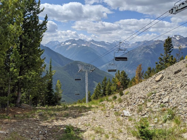 Looking down at the Summit Quad from the Summit trail - Panorama Mountain