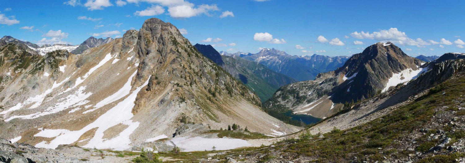 This is the same as the panorama above, further along the ridge. Jade Lake is below and Mount Williamson is on the left.