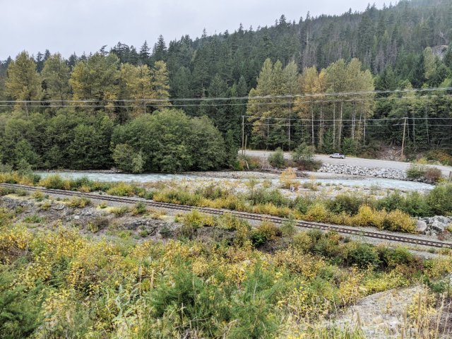 The trainline next to the Green River