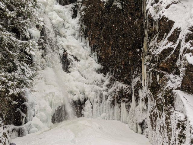 Ice waterfall close up - Norvan Falls