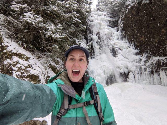Total joy next to icy Norvan Falls