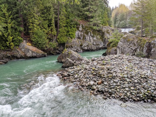 Cheakamus River and waterfall view
