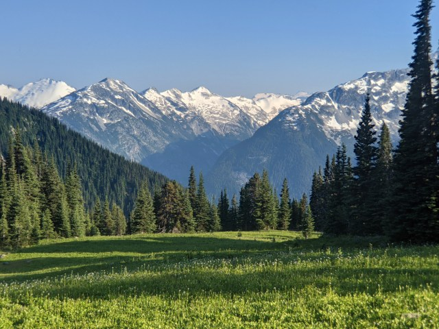 Gorgeous views from below the meadows below Oboe Summit