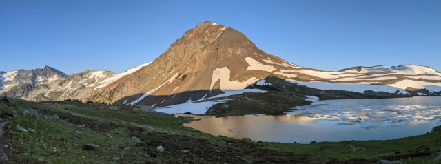 Panorama at Russet Lake reflections