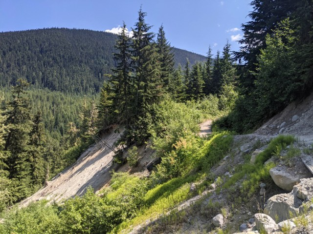 Slow sloping trail down to Whistler