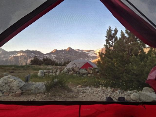 Tent views at Russet Lake