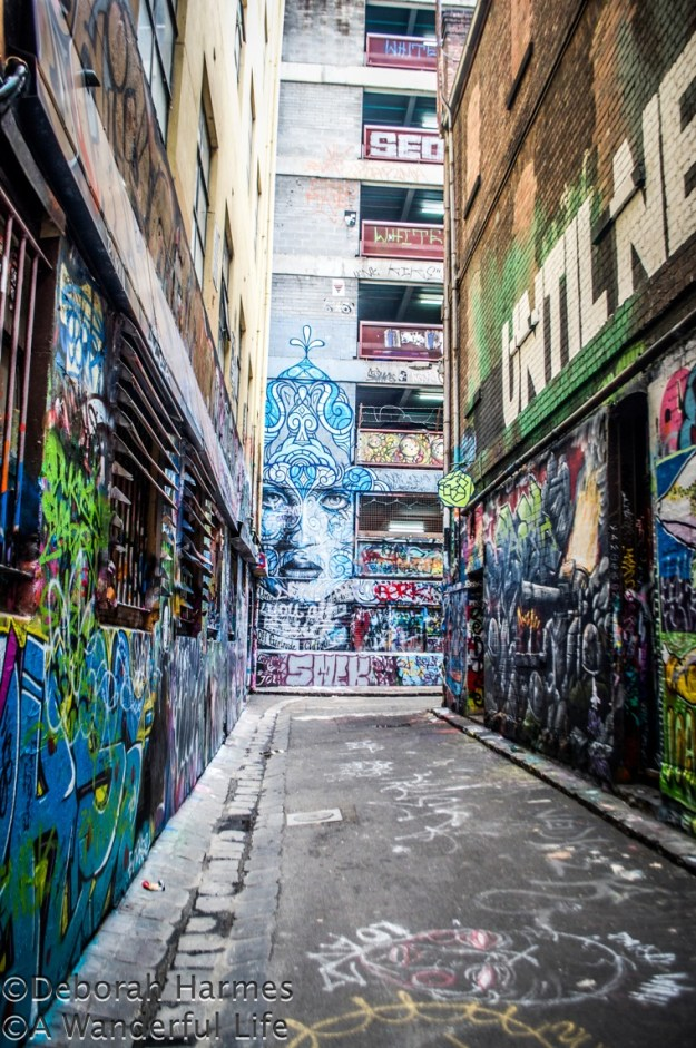 Graffiti covered Hosier Lane in the heart of Melbourne, Australia