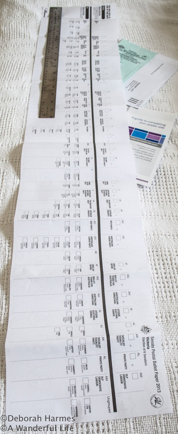 A 40 inch/101.6 cm long paper ballot gives 34 party choices on the Australian Federal Election ballot for 2013