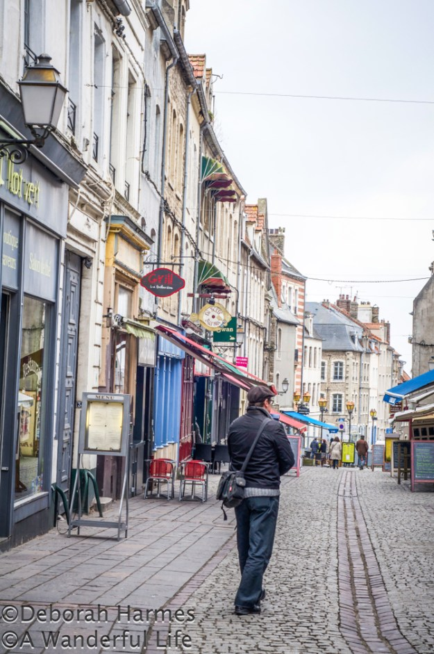Walking through the medieval walled city portion of Boulogne-sur-Mer in the Pas-de-Calais region of northern France.