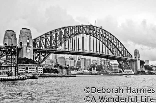 Sydney Harbour Bridge on a stormy day.