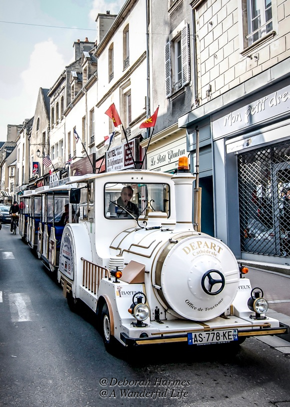 The tourist train in Bayeux, a lovely town in the Normandy region of France.