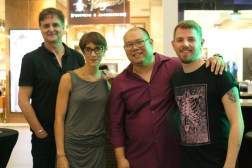 From Left to Right: Phil Hayes, EVP, Product & Marketing, Pacsafe HQ Marion Charreyre, Creative Director, Pacsafe HQ Dustin Lim, CEO, Pacsafe Philippines Graceson Craig, Acoustic Performer from I Love OPM