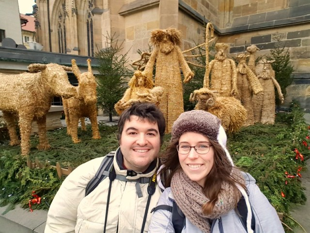 Sean & Jessica in the Prague Castle on Christmas Eve