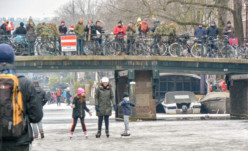 Family ice skating in Amsterdam