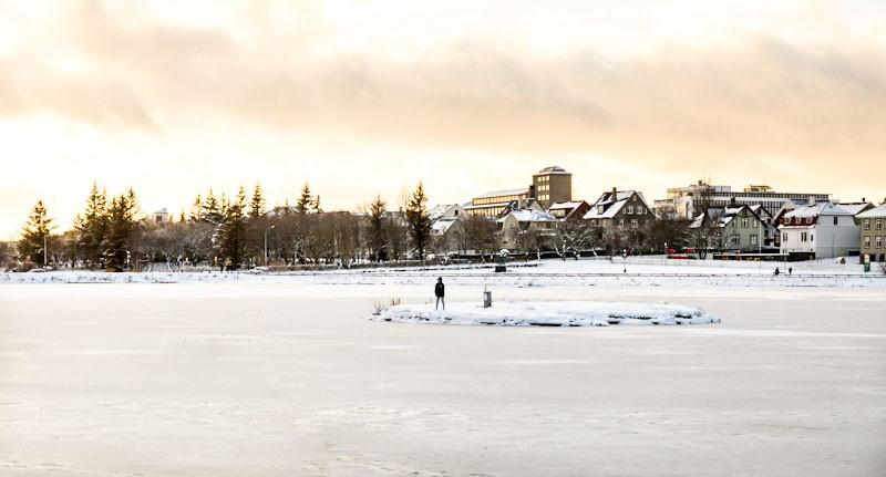 Frozen lake in Reykjavik