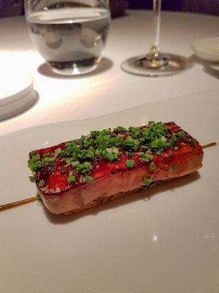 Glazed Fois Gras over puff pastry - Cinq Sensitis, Barcelona