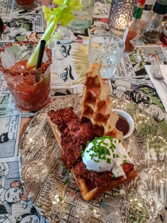 """""""Dirty South"""" (fried chicken, cheddar waffle, poached egg) -- G's, Amsterdam, Netherlands"""