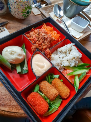 Bento Box (Pokébowl, Mix of Croquettes, Steamed Bun, Pulled Pork, Ginger Mayonnaise) -- Mr. Mofongo, Groningen, Netherlands