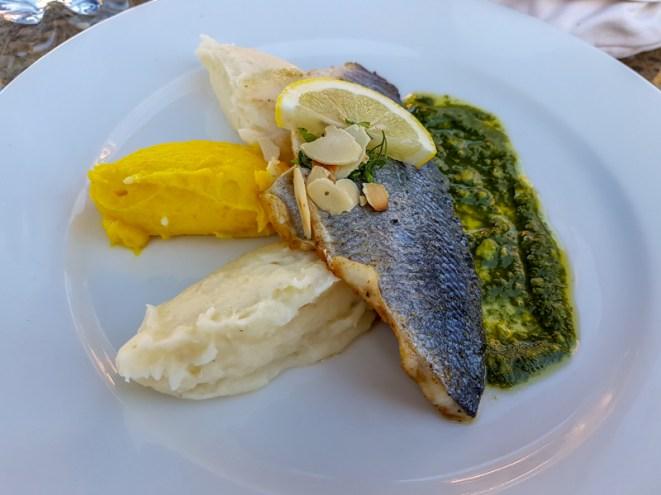 Seared fish with potato and pesto -- Dar Marjana, Marrakech, Morocco