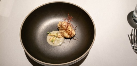 """Ang Moh"" Chicken Rice, Kin Yan Abalone Mushroom (home-milled rice flour, grandma's chili sauce & braised chicken) -- Labyrinth, Singapore"