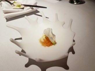 Clam Leaf Snow, rosella meringue & textures of grapes -- Labyrinth, Singapore