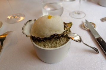 Oyster with herb sorbet and lemongrass foam - Agape, Paris, France