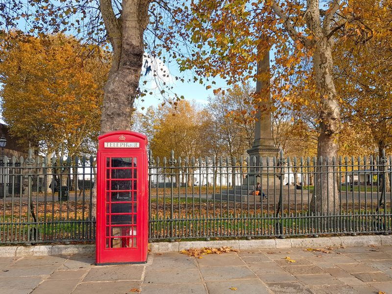 London phone booth in the fall